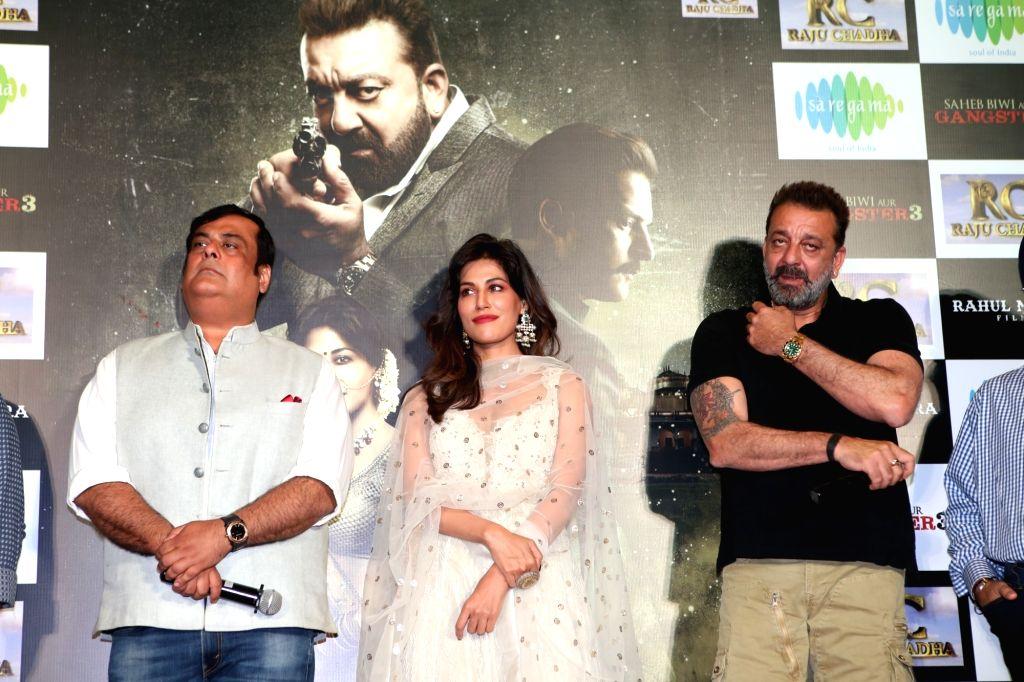 "Actors Sanjay Dutt, Chitrangada Singh and producer Rahul Mittra at the trailer launch of upcoming film ""Saheb, Biwi Aur Gangster 3"" in Mumbai, on June 30, 2018. - Sanjay Dutt and Chitrangada Singh"