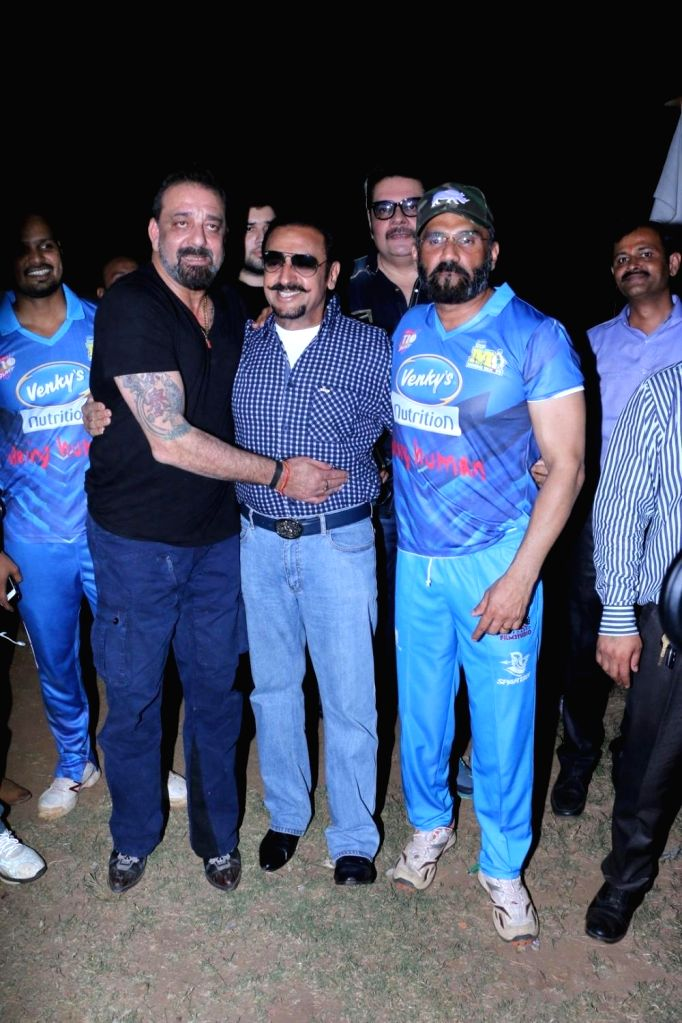 Actors Sanjay Dutt, Gulshan Grover and Suniel Shetty during Celebrity Cricket League Match in Mumbai on April 3, 2018. - Sanjay Dutt, Gulshan Grover and Suniel Shetty
