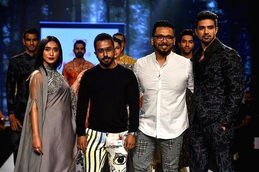 Actors Saqib Salim and Sayani Gupta with fashion designers Dev and Nil on Day 3 of the Bombay Times Fashion Week, in Mumbai on March 15, 2020. - Saqib Salim and Sayani Gupta