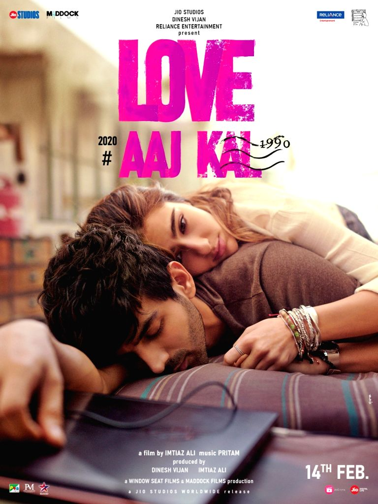"""Actors Sara Ali Khan and Kartik Aaryan on Thursday shared the  first poster of their upcoming film """"Love Aaj Kal"""". Sharing the poster on her Instagram, Sara wrote: """"Meet Veer and Zoe Come get wound up in our whirlwind wonderland #LoveAajKal Trailer - Sara Ali Khan and Kartik Aaryan"""