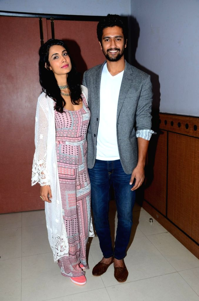 Actors Sarah Jane Dias and Vicky Kaushal during the promotion of film Zubaan in Mumbai on Jan 23, 2016. - Sarah Jane Dias and Vicky Kaushal