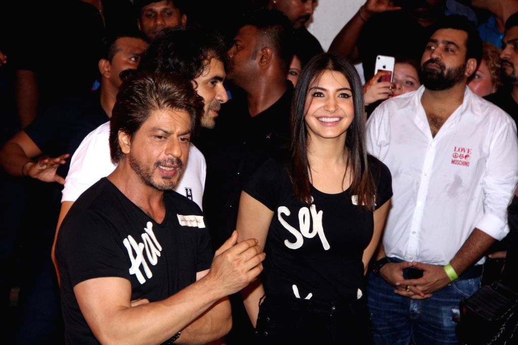 "Actors Shah Rukh Khan and Anushka Sharma at the preview of ""Beech Beech Mein"" a song from their upcoming film ""Jab Harry Met Sejal"" in Mumbai, on July 3, 2017. - Shah Rukh Khan and Anushka Sharma"