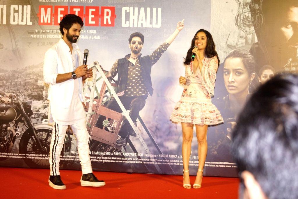 "Actors Shahid Kapoor and Shraddha Kapoor at the trailer launch of their upcoming film ""Batti Gul Meter Chalu"" in Mumbai on Aug 10, 2018. - Shahid Kapoor and Shraddha Kapoor"