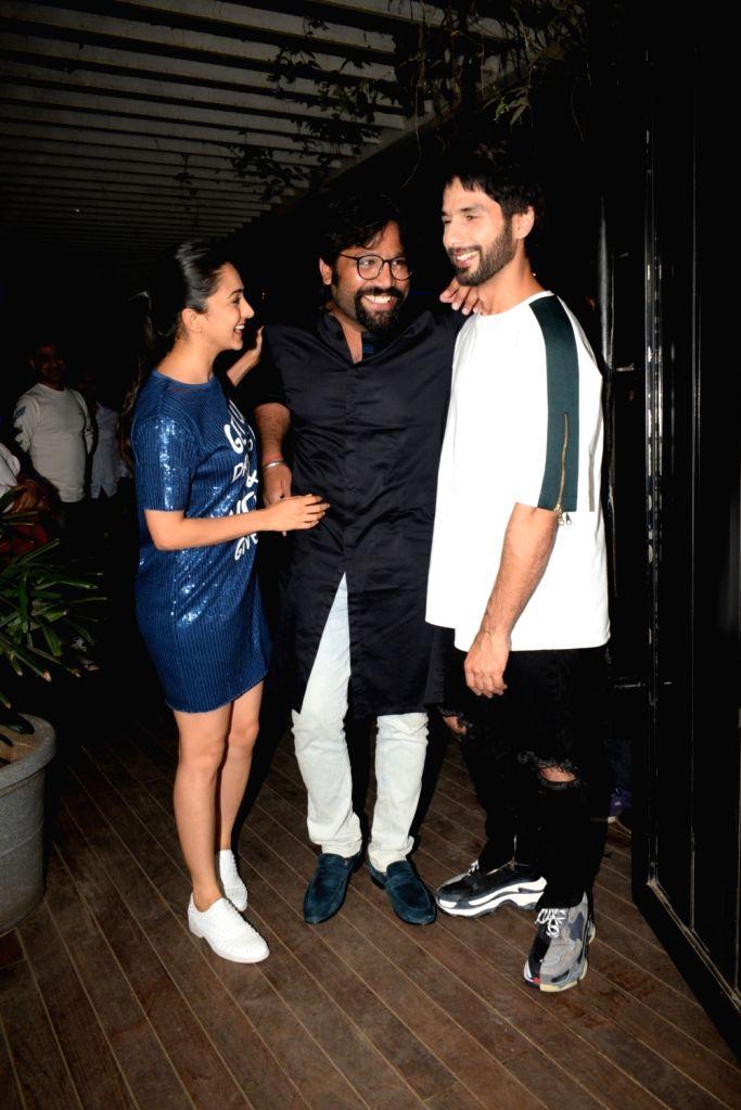 "Actors Shahid Kapoor, Kiara Advani and director Sandeep Reddy Vanga at the wrap up party of their upcoming film ""Kabir Singh"" in Mumbai, on April 11, 2019. - Sandeep Reddy Vanga, Shahid Kapoor, Kiara Advani and Kabir Singh"