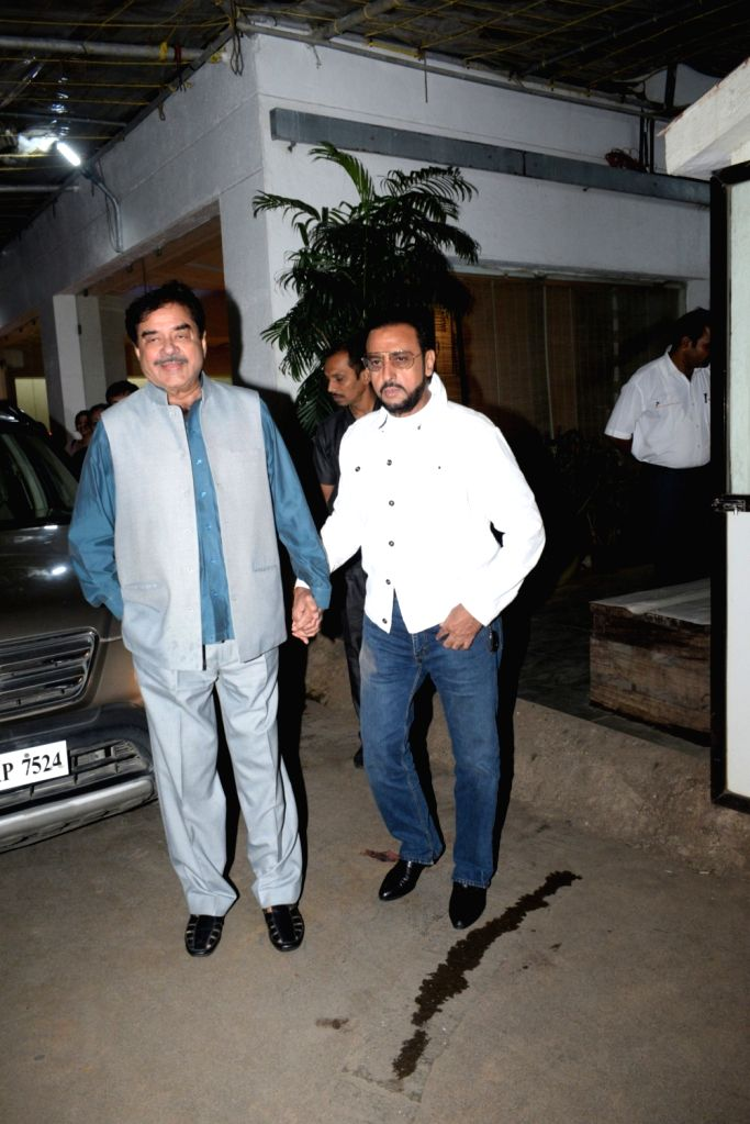 "Actors Shatrughan Sinha and Gulshan Grover arrive at the screening of recently released film ""Mission Mangal"" in Mumbai on Aug 25, 2019. - Shatrughan Sinha and Gulshan Grover"