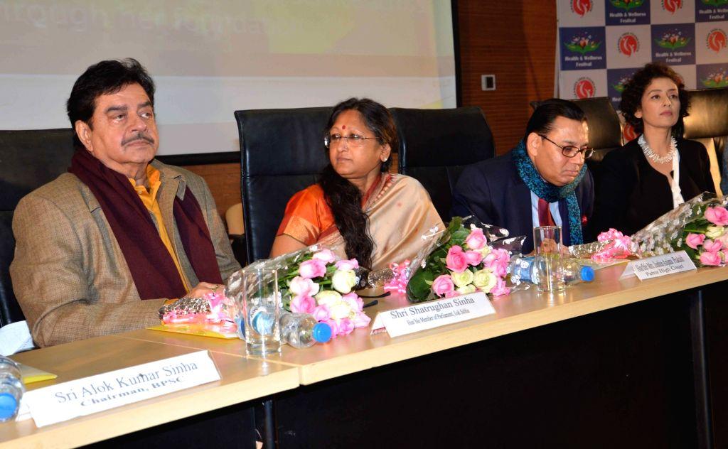 Actors Shatrughan Sinha and Manisha Koirala during a programme in Patna, on Jan 15, 2016.