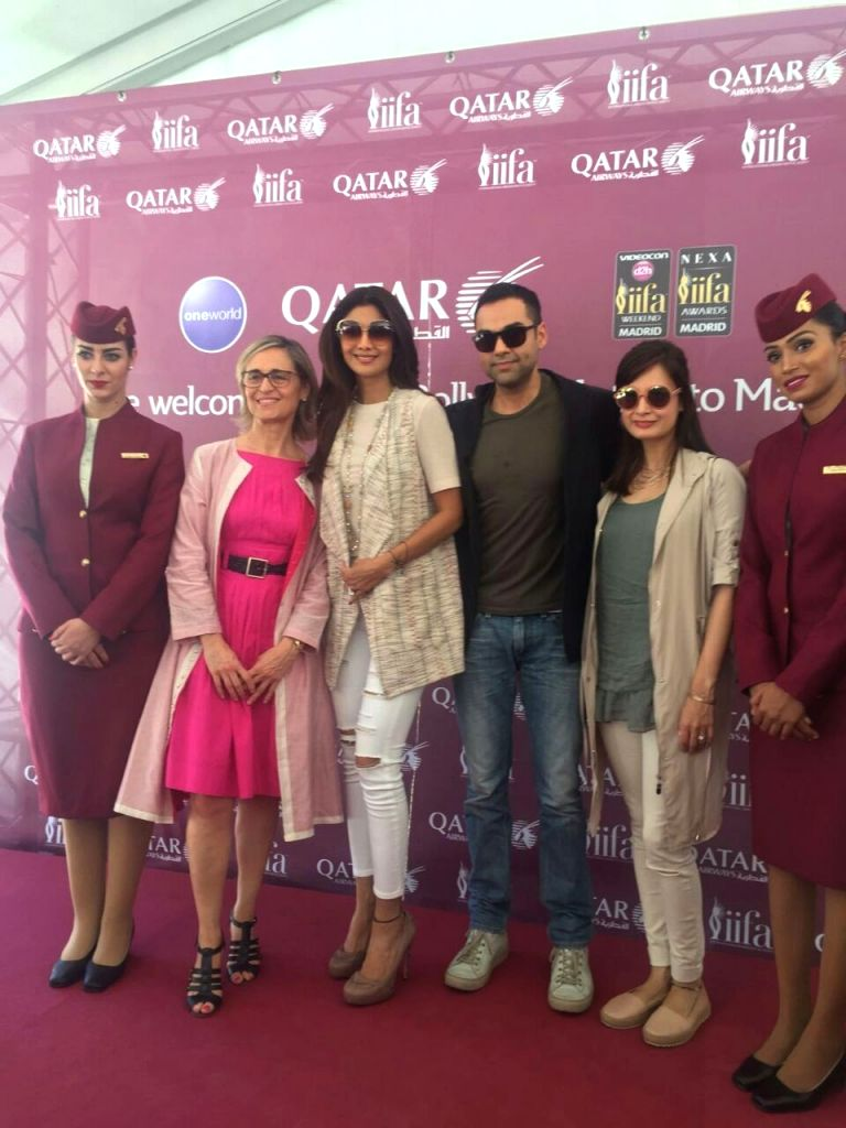 Actors Shilpa Shetty, Abhay Deol and Dia Mirza at Adolfo Suarez Madrid-Barajas Airport to attend the International Indian Film Academy (IIFA) Awards in Madrid on June 22, 2016. - Shilpa Shetty, Abhay Deol and Dia Mirza