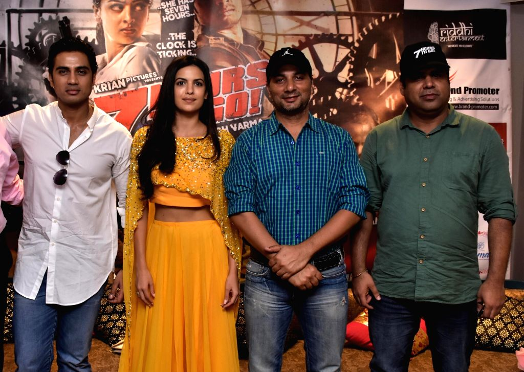 "Actors Shiv Pandit, Natasa Stankovic, Varun Badola and filmmaker Saurabh Varma during the press conference to promote their upcoming film ""7 Hours to Go"" in Jaipur on June 4, 2016. - Shiv Pandit, Natasa Stankovic and Varun Badola"