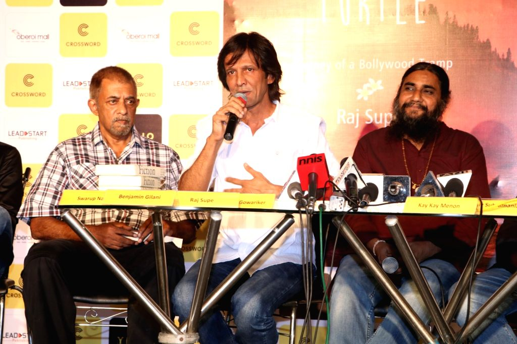 Actors Shivkumar Subramaniam, Kay Kay Menon and author Raj Supe during the book launch of When Life Turns Turtle by author Raj Supe in Mumbai on July 27, 2016. - Shivkumar Subramaniam and Kay Kay Menon