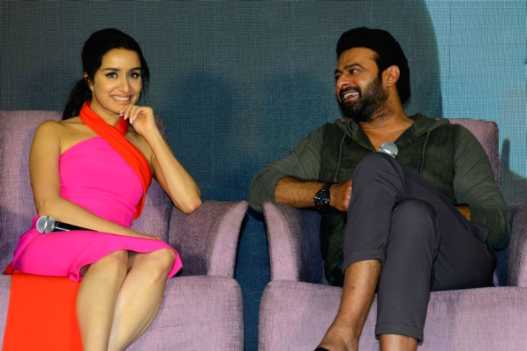 """Actors Shraddha Kapoor and Prabhas during a press conference to promote their upcoming film """"Saaho"""" in Hyderabad on Aug 11, 2019. - Shraddha Kapoor and Prabhas"""