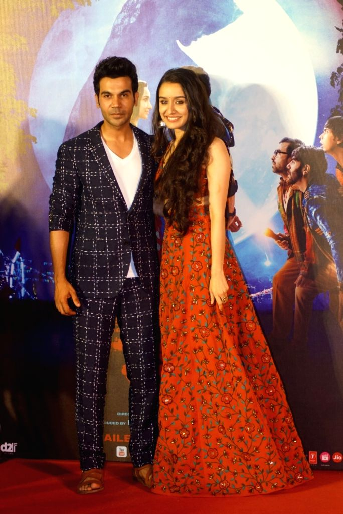 "Actors Shraddha Kapoor and Rajkummar Rao at the trailer launch of their upcoming film ""Stree"" in Mumbai on July 26, 2018. - Shraddha Kapoor and Rajkummar Rao"