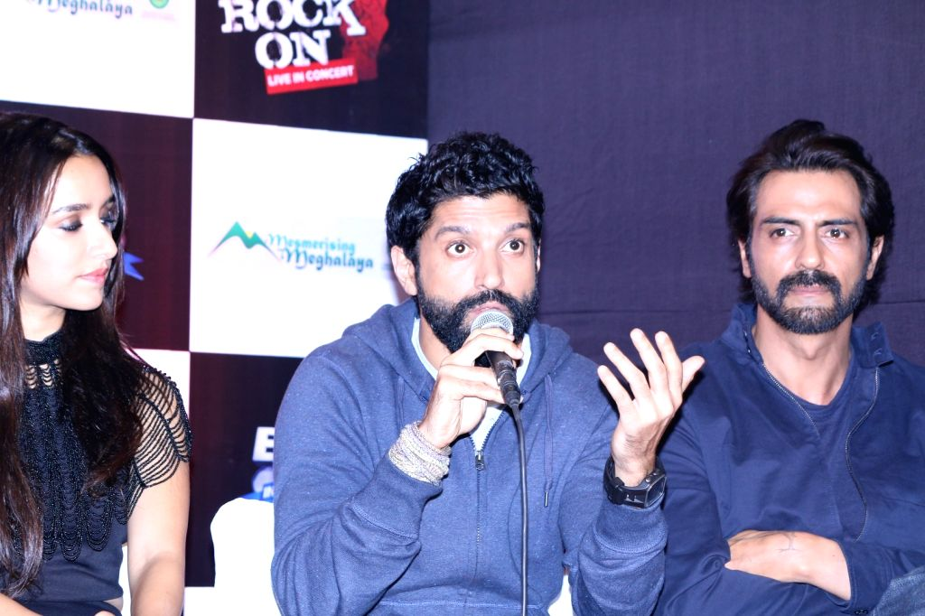 Actors Shraddha Kapoor, Farhan Akhtar and Arjun Rampal during the music launch of the movie Rock On 2 in Mumbai on Sept. 17, 2016. - Shraddha Kapoor, Farhan Akhtar and Arjun Rampal