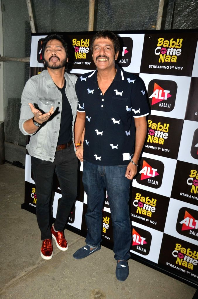 "Actors Shreyas Talpade and Chunky Pandey at the screening of ALT Balaji's ""Baby Come Naa"" web series in Mumbai on Oct 30, 2018. - Shreyas Talpade and Chunky Pandey"