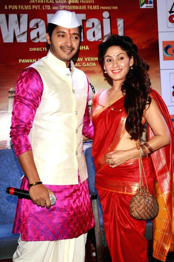 "Actors Shreyas Talpade and Manjari Fadnis during a press confrence to promote their upcoming film ""Wah Taj"" in New Delhi on Sept 19, 2016. - Shreyas Talpade and Manjari Fadnis"