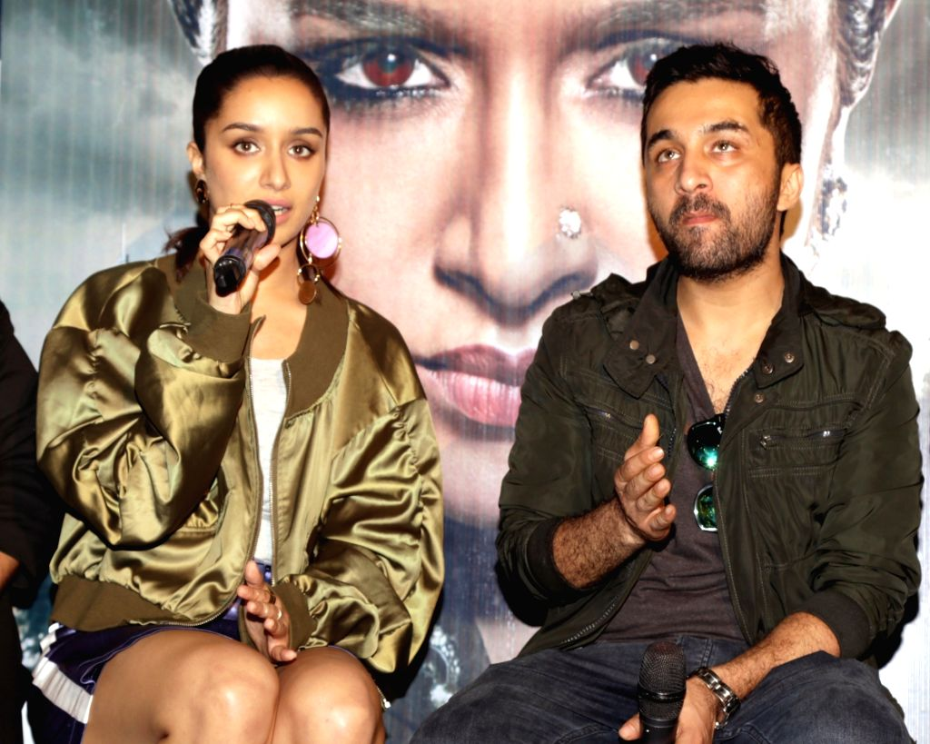 """Actors Siddhanth Kapoor and Shraddha Kapoor during a press conference to promote their upcoming film """"Haseena Parkar"""" in New Delhi on Sept 18, 2017. - Siddhanth Kapoor and Shraddha Kapoor"""