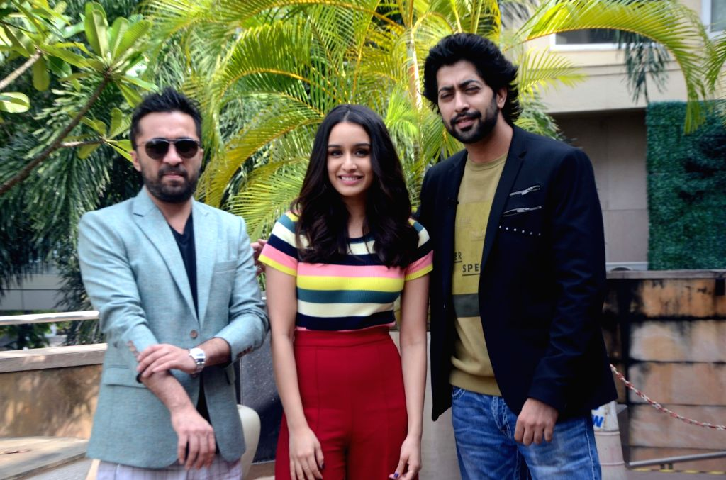 "Actors Siddhanth Kapoor, Shraddha Kapoor and Ankur Bhatia during the promotion of their upcoming film ""Haseena Parkar"" in Mumbai on Sept 16, 2017. - Siddhanth Kapoor, Shraddha Kapoor and Ankur Bhatia"