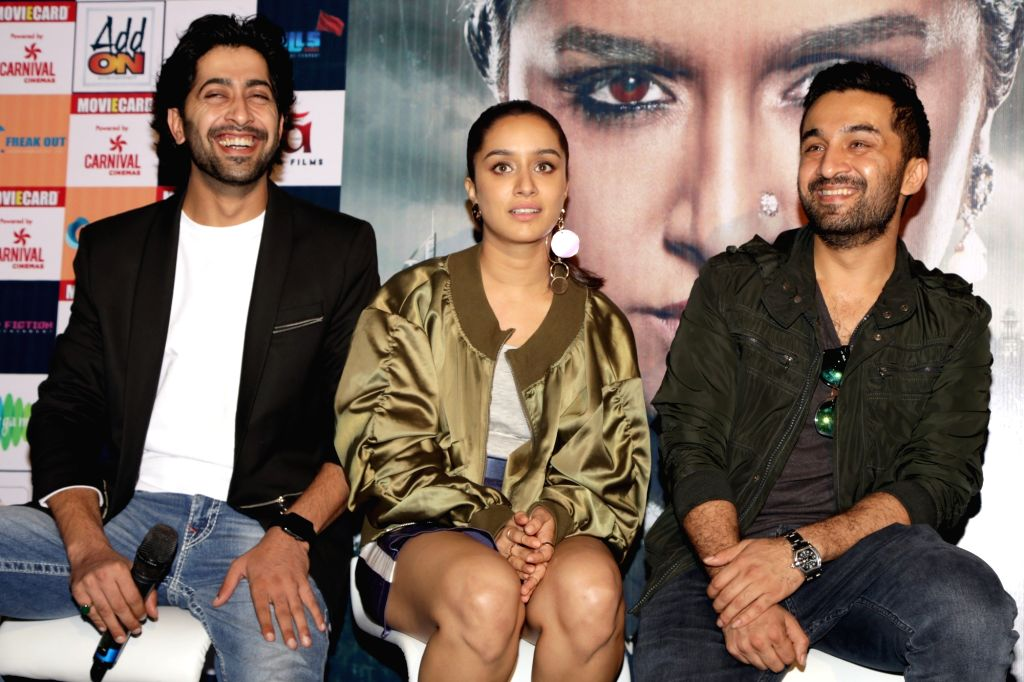 """Actors Siddhanth Kapoor, Shraddha Kapoor and Ankur Bhatia during a press conference to promote their upcoming film """"Haseena Parkar"""" in New Delhi on Sept 18, 2017. - Siddhanth Kapoor, Shraddha Kapoor and Ankur Bhatia"""