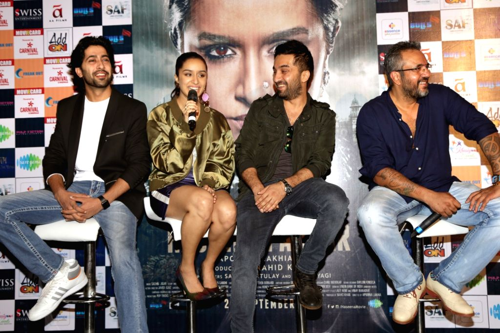 """Actors Siddhanth Kapoor, Shraddha Kapoor, Ankur Bhatia along with director Apoorva Lakhia during a press conference to promote their upcoming film """"Haseena Parkar"""" in New Delhi ... - Apoorva Lakhia, Siddhanth Kapoor, Shraddha Kapoor and Ankur Bhatia"""