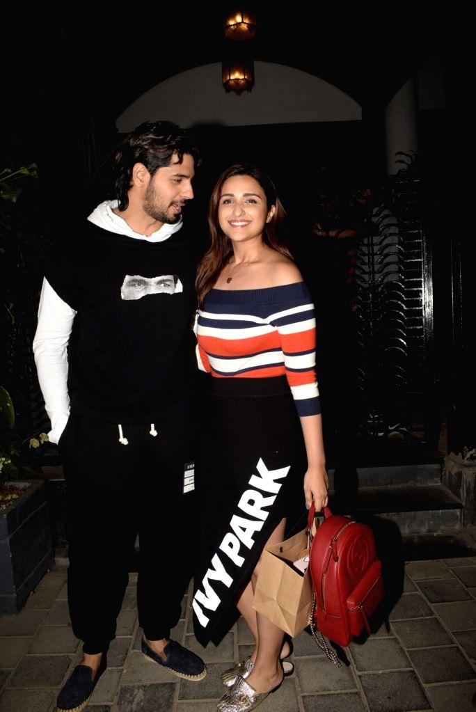 Actors Siddharth Malhotra and Parineeti Chopra seen outside a club in Mumbai's Juhu on Feb 18, 2019. - Siddharth Malhotra and Parineeti Chopra
