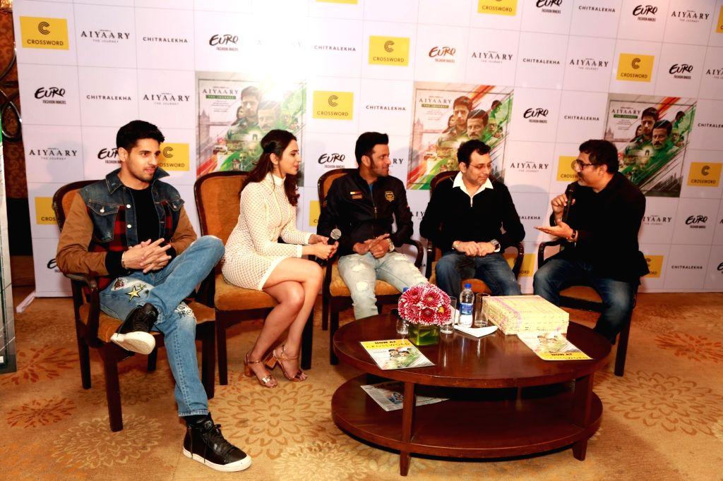 "Actors Siddharth Malhotra , Manoj Bajpayee and Rakul Preet at  launch of cofee table book ""Aiyaary The Journey"",  in New Delhi, on 12 Feb ,2018. - Siddharth Malhotra and Manoj Bajpayee"