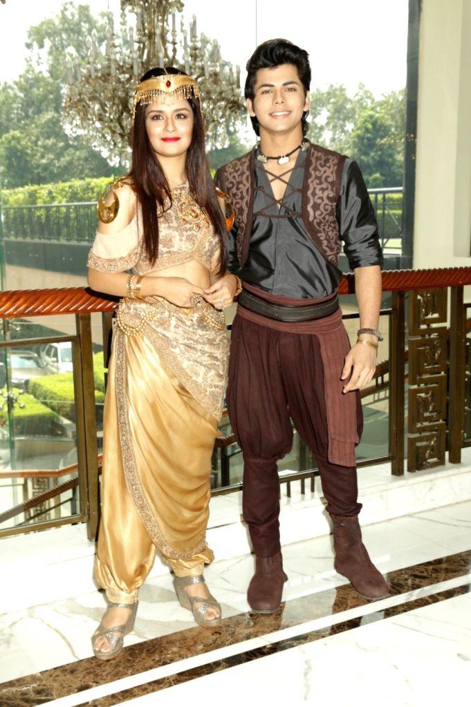 "Actors Siddharth Nigam and Navneet Kaur at a press meet of television show ""Aladdin - Naam Toh Suna Hoga"", in New Delhi on Sept 11, 2018. - Siddharth Nigam and Navneet Kaur"