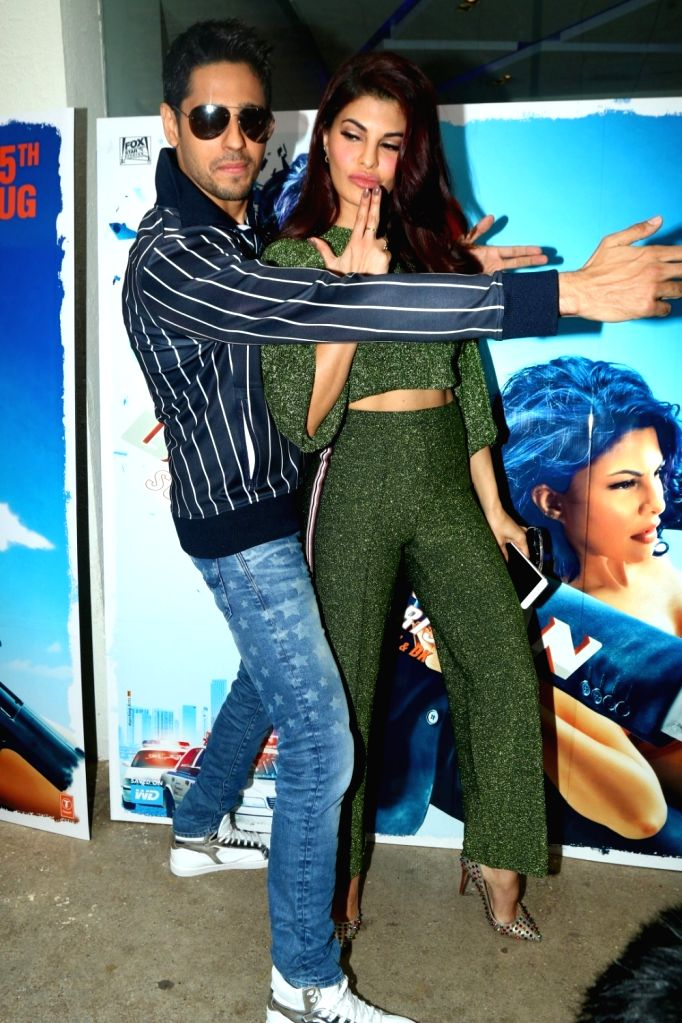 "Actors Sidharth Malhotra and Jacqueline Fernandez during special preview of upcoming film ""A Gentleman"" in Mumbai, on July 7, 2017. - Sidharth Malhotra and Jacqueline Fernandez"