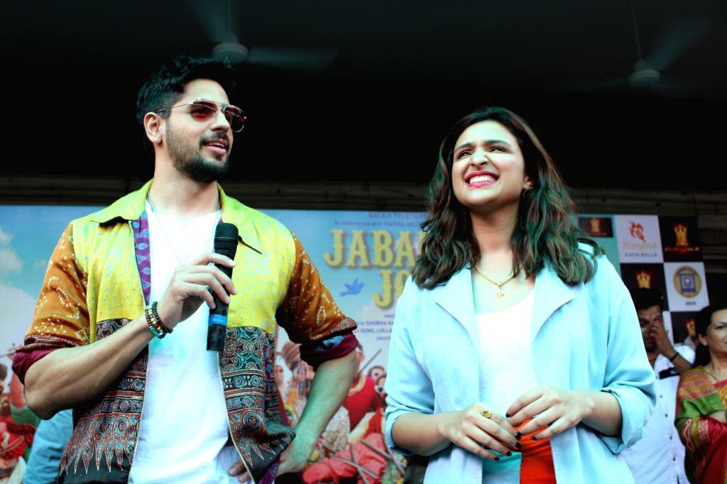 "Actors Sidharth Malhotra and Parineeti Chopra during the promotions of their film ""Jabariya Jodi"" at Delhi University's Lakshmibai College, on July 26, 2019. - Sidharth Malhotra and Parineeti Chopra"