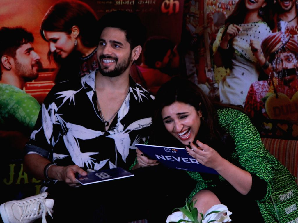 "Actors Sidharth Malhotra and Parineeti Chopra at an interview during the promotions of their film ""Jabariya Jodi"", in New Delhi on July 25, 2019. - Sidharth Malhotra and Parineeti Chopra"