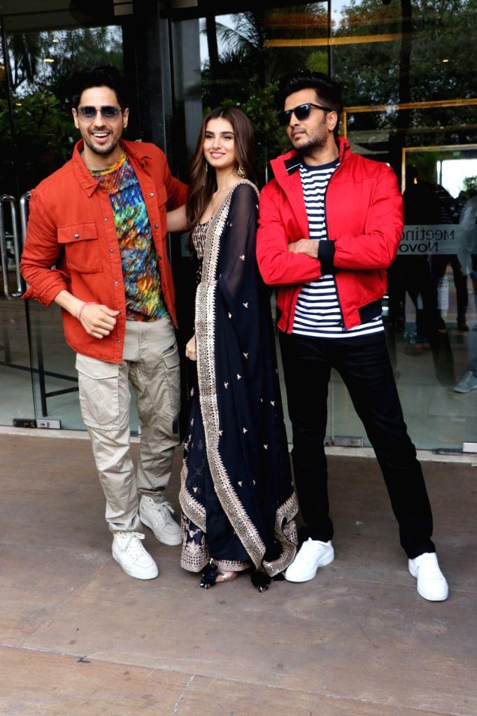 "Actors Sidharth Malhotra, Tara Sutaria and Riteish Deshmukh during the promotions of their upcoming film ""Marjaavaan"" in Mumbai on Nov 7, 2019. - Sidharth Malhotra, Tara Sutaria and Riteish Deshmukh"