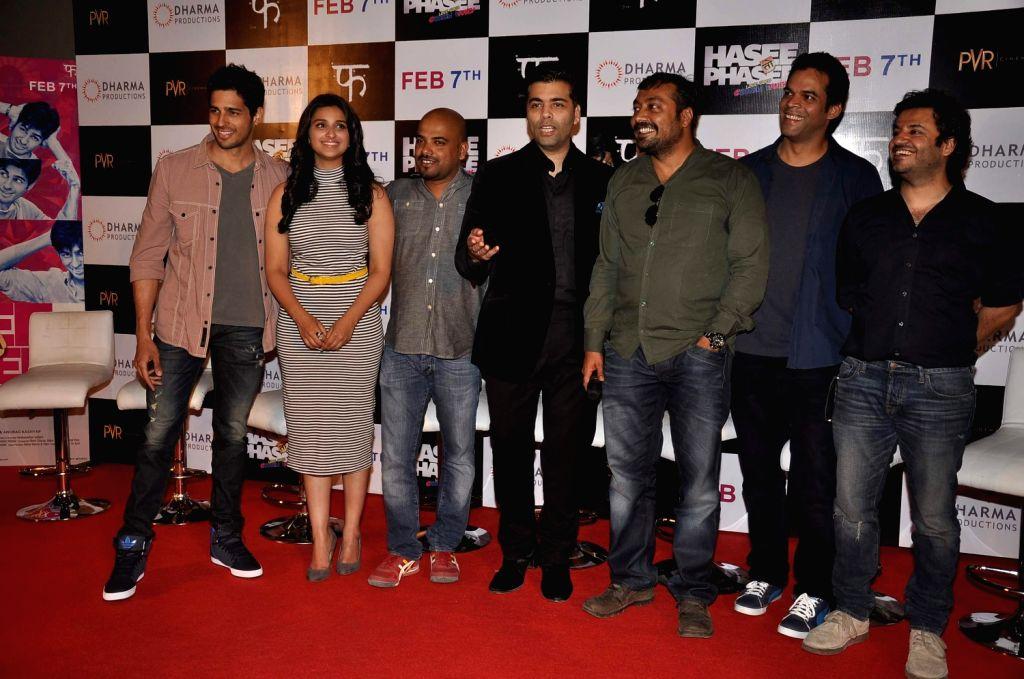 Actors Sidhrath Malhotra, Parineeti Chopra, filmmakers Vinil Matthew, Karan Johar, Anurag Kashyap, Vikramaditya and Vikas Bahl at the first look of their upcoming film Hasee Toh Phasee at PVR Cinemas - Sidhrath Malhotra, Parineeti Chopra, Karan Johar and Anurag Kashyap