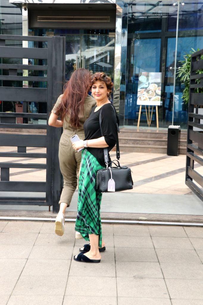 Actors Sonali Bendre seen at Bandra Kurla Complex in Mumbai on Aug 10, 2019. - Sonali Bendre