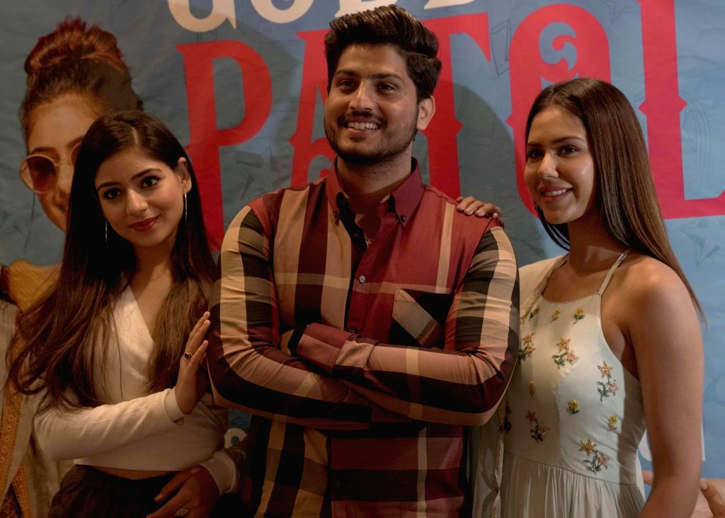 "Actors Sonam Bajwa, Tania and Gurnam Bhullar during the promotion of their upcoming Punjabi film ""Guddiyan Patole,"" in Jalandhar, on March 5, 2019. - Sonam Bajwa, Tania and Gurnam Bhullar"