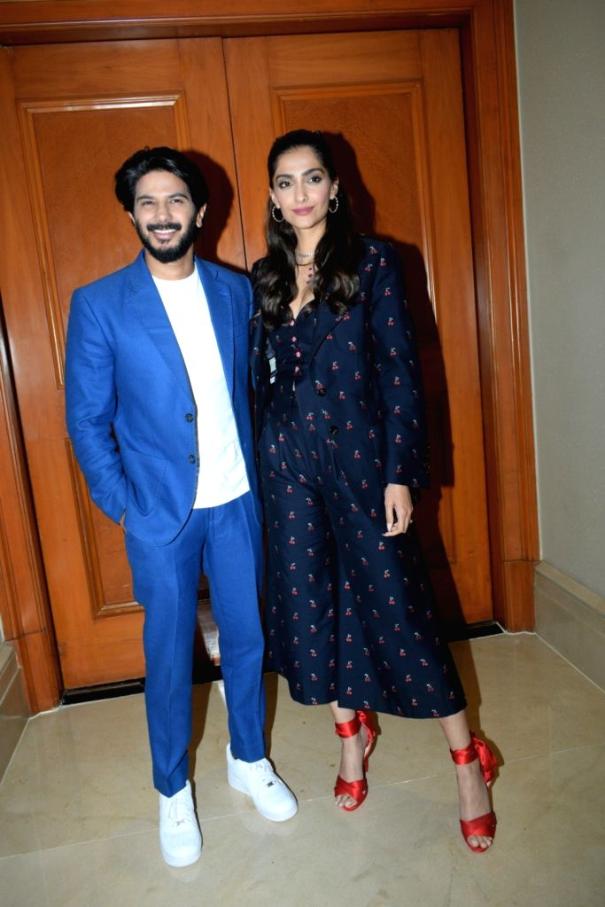 "Actors Sonam Kapoor and Dulquer Salmaan at the promotion of their upcoming film ""The Zoya Factor"" in Mumbai, on Sep 5, 2019. - Sonam Kapoor and Dulquer Salmaan"