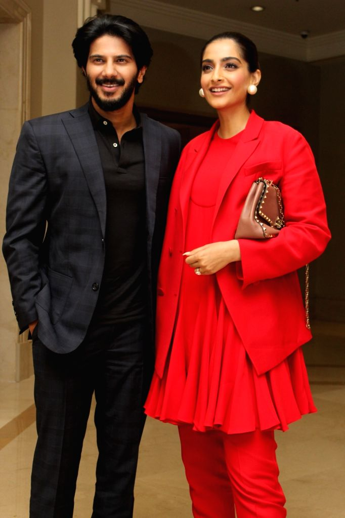 "Actors Sonam Kapoor and Dulquer Salmaan  during the promotions of their upcoming film ""The Zoya Factor"" in Mumbai on Sep 7, 2019. - Sonam Kapoor and Dulquer Salmaan"