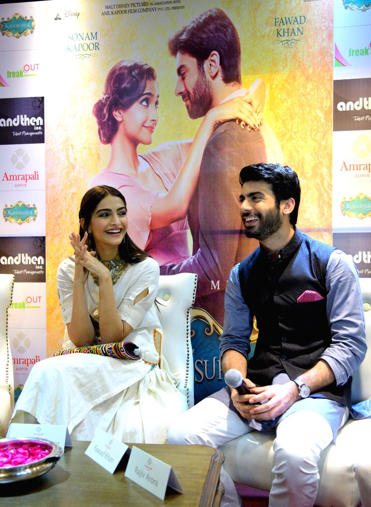 Actors Sonam Kapoor and Fawad Khan during a press conference to promote their upcoming film `Khoobsurat` in Jaipur on Sept 10, 2014. - Sonam Kapoor and Fawad Khan