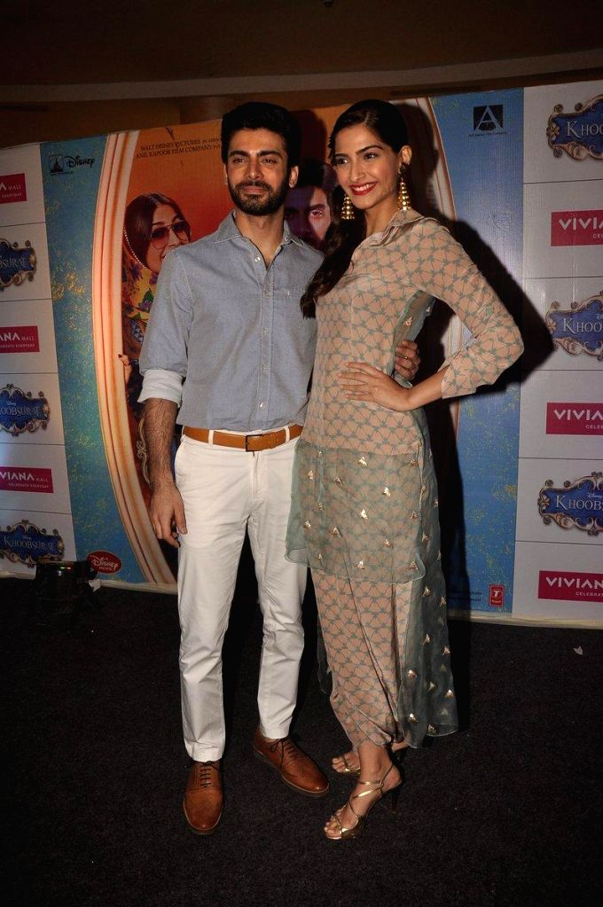 Actors Sonam Kapoor and Fawad Khan during the promotion of film Khoobsurat in Thane on Sept 7, 2014. - Sonam Kapoor and Fawad Khan