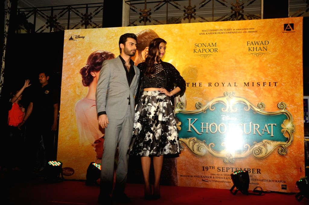 Actors Sonam Kapoor and Fawad Khan with Sonam Kapoor`s sister and filmmaker Rhea Kapoor during the music launch of forthcoming film Khoobsurat in Mumbai, on Sept. 5, 2014. - Sonam Kapoor and Fawad Khan