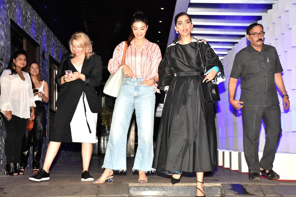 Actors Sonam Kapoor and Jacqueline Fernandez seen at Bandra in Mumbai on Sep 21, 2019. - Sonam Kapoor and Jacqueline Fernandez