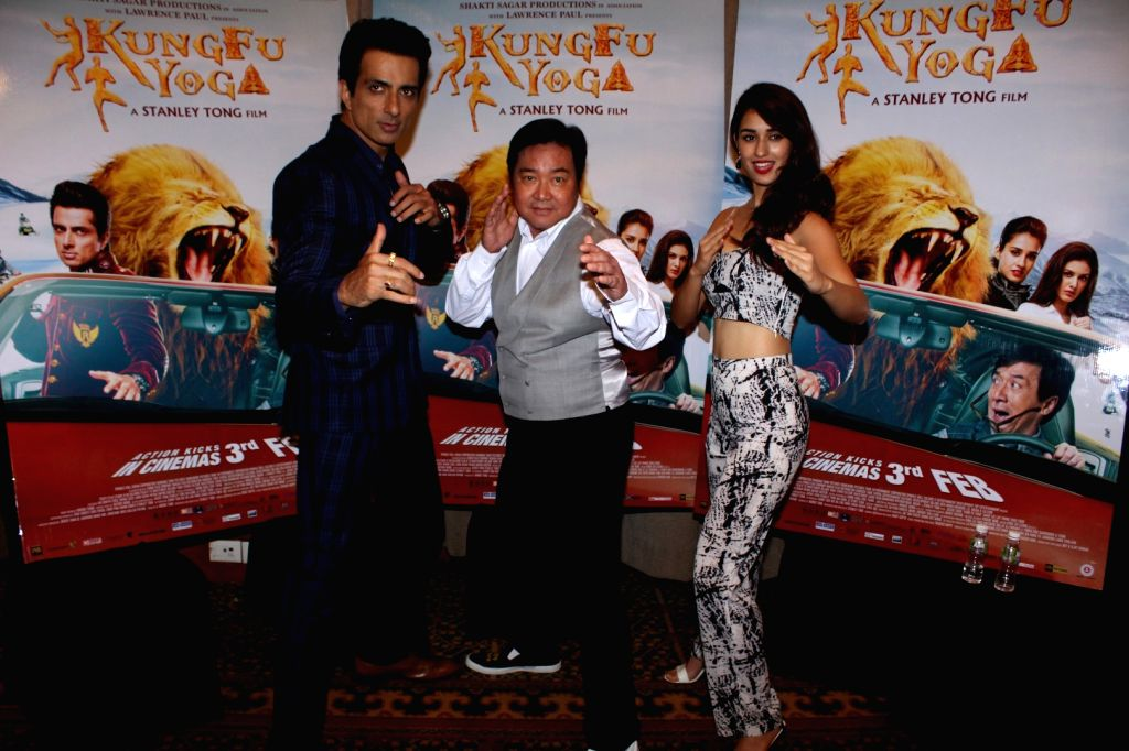 "Actors Sonu Sood, Disha Patani and filmmaker Stanley Tong during the promotion of upcoming film ""Kung Fu Yoga"" in Mumbai, on Jan 25, 2017. - Sonu Sood and Disha Patani"