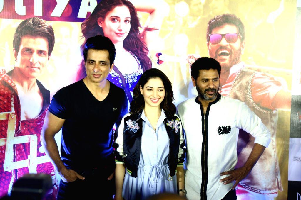Actors Sonu Sood, Tammana Bhatia and Prabhu Deva during the screening of film Tutak Tutak Tutiya in Mumbai on Oct. 6, 2016. - Sonu Sood, Tammana Bhatia and Prabhu Deva