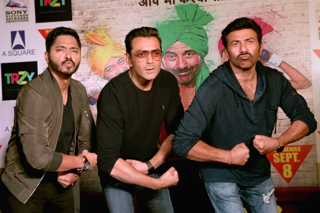 "Actors Sunny Deol, Bobby Deol and Shreyas Talpade during a press conference to promote their upcoming film ""Poster Boys"" on Sept 5, 2017. - Sunny Deol, Bobby Deol and Shreyas Talpade"