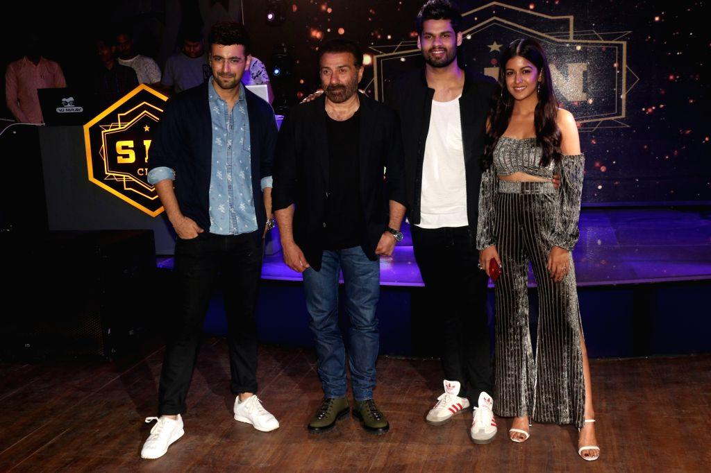 "Actors Sunny Deol, Karanvir Sharma, Karan Kapadia and Ishita Dutta at the wrap-up party of their upcoming film ""Blank"" in Mumbai, on April 12, 2019. - Sunny Deol, Karanvir Sharma, Karan Kapadia and Ishita Dutta"