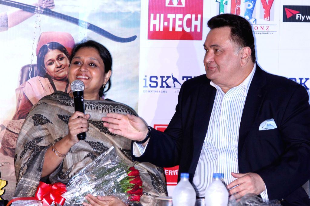 Actors Supriya Pathak and Rishi Kapoor and during a press conference to promote their upcoming film `All is Well` in Gurgaon, on Aug 10, 2015. - Supriya Pathak and Rishi Kapoor