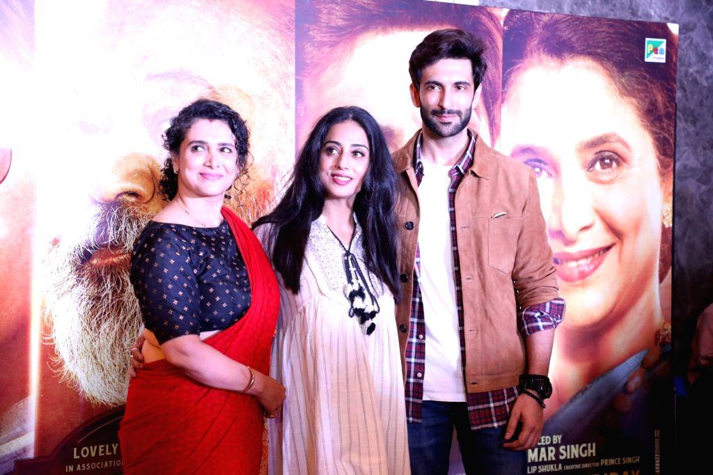 "Actors Supriya Pilgaonkar, Mahie Gill and Jimmy Sheirgill at the screening of their upcoming film ""Family of Thakurganj"" in Mumbai, on July 17, 2019. - Supriya Pilgaonkar, Mahie Gill and Jimmy Sheirgill"