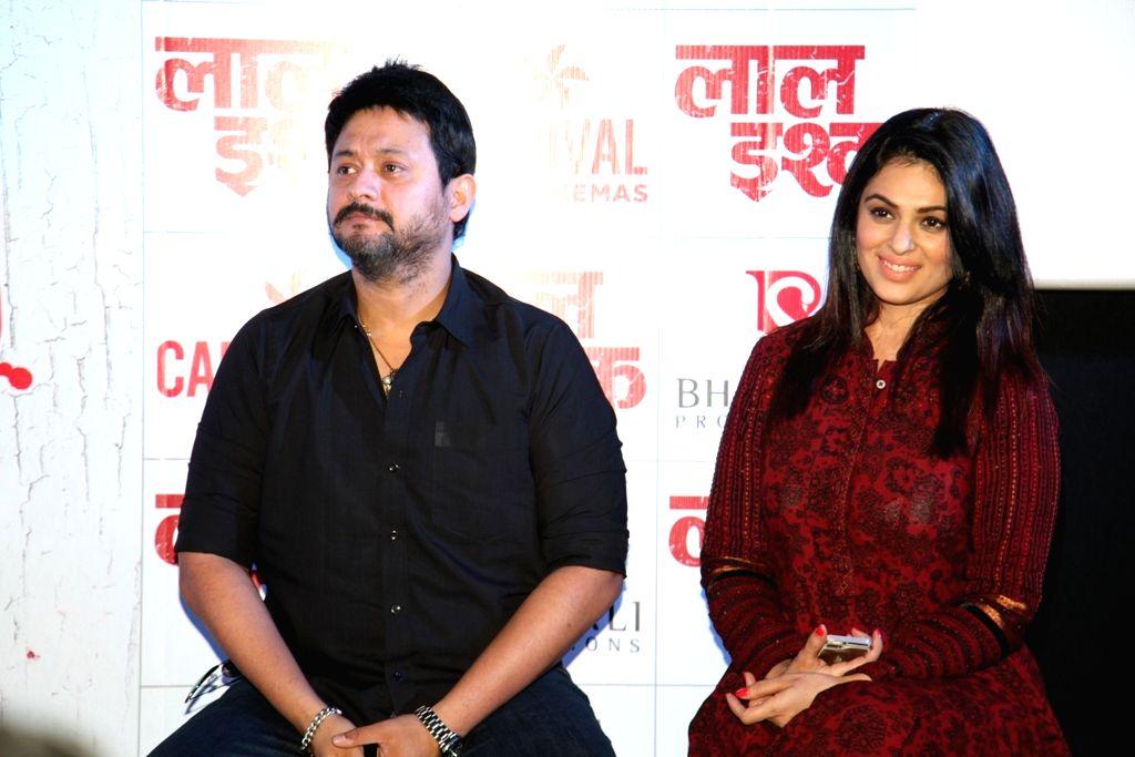 Actors Swapnil Joshi and Anjana Sukhani during the poster launch of Sanjay Leela Bhansali's Marathi film Laal Ishq in Mumbai on April 11, 2016. - Swapnil Joshi and Anjana Sukhani