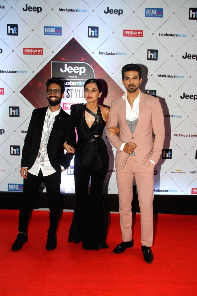 "Actors Taapsee Pannu and Saqib Saleem at the red carpet of ""HT India's Most Stylish Awards"" in Mumbai on Jan 24, 2018. - Taapsee Pannu and Saqib Saleem"