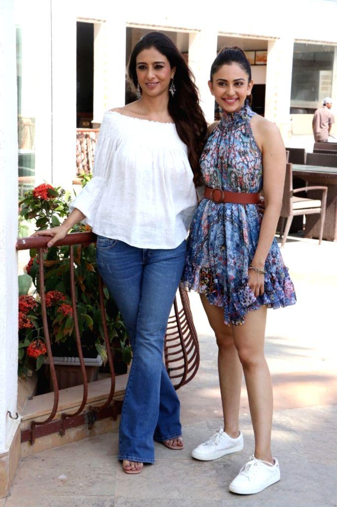 Actors Tabu and Rakul Preet Singh seen at a hotel in Mumbai's Bandra on May 11, 2019. - Tabu and Rakul Preet Singh