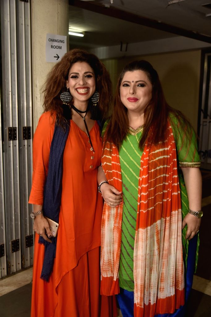 Actors Tanaaz Irani and Delnaaz Irani at the premiere of comedy play 'Wrong Number', in Mumbai on June 3, 2018. - Tanaaz Irani and Delnaaz Irani