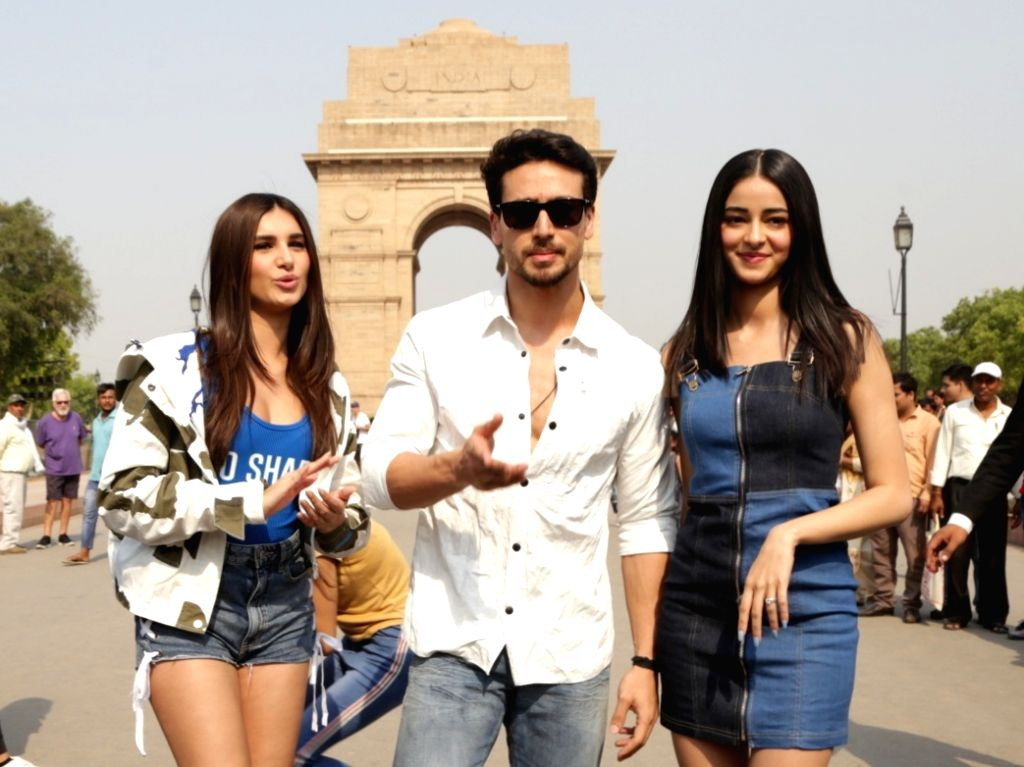 "Actors Tara Sutaria, Tiger Shroff and Ananya Pandey during the promotions of their upcoming film ""Student of the Year 2"" in New Delhi, on May 6, 2019. - Tara Sutaria, Tiger Shroff and Ananya Pandey"