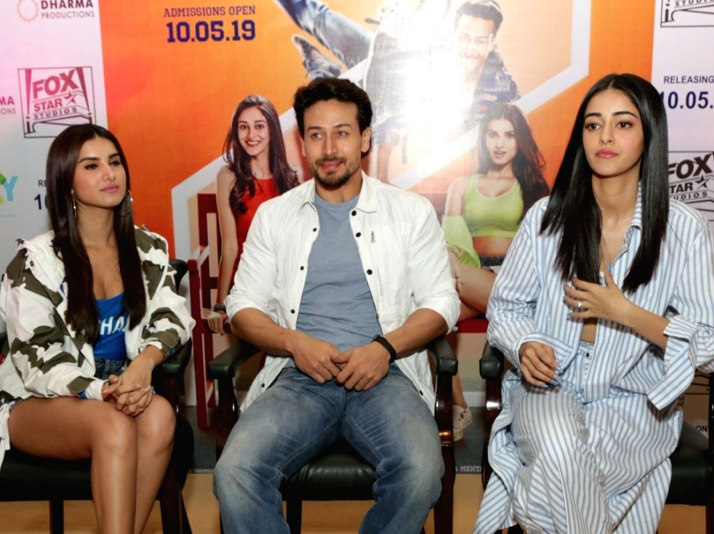 "Actors Tara Sutaria, Tiger Shroff and Ananya Pandey at a press conference during the promotions of their upcoming film ""Student of the Year 2"" in New Delhi, on May 6, 2019. - Tara Sutaria, Tiger Shroff and Ananya Pandey"